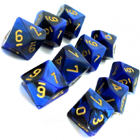 Black & Blue Gemini D10 Ten Sided Dice Set
